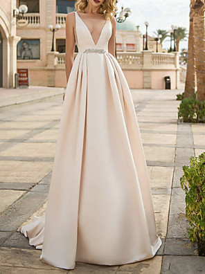 cheap Wedding Dresses-A-Line Wedding Dresses V Neck Floor Length Polyester Sleeveless Formal Plus Size with Draping 2020