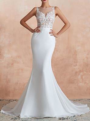 cheap Wedding Dresses-Mermaid / Trumpet Wedding Dresses Jewel Neck Sweep / Brush Train Lace Tulle Sleeveless Sexy Illusion Detail with Lace Insert Appliques 2020