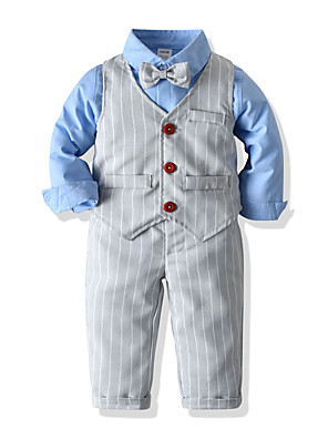 cheap Boys' Clothing Sets-Kids Toddler Boys' Basic Birthday Party Party & Evening Striped Solid Colored Short Sleeve Regular Regular Clothing Set White
