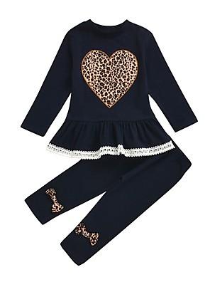 cheap Girls' Dresses-Kids Girls' Basic Leopard Long Sleeve Clothing Set Navy Blue