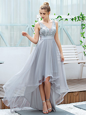 cheap Prom Dresses-A-Line Elegant Grey Cocktail Party Prom Dress V Neck Sleeveless Asymmetrical Tulle with Embroidery Appliques 2020