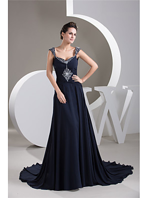 cheap Wedding Dresses-A-Line Elegant Formal Evening Dress Sweetheart Neckline Sleeveless Court Train Chiffon with Ruched Beading 2020