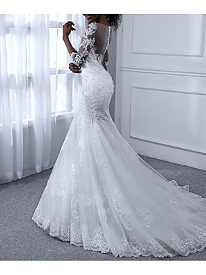 cheap Wedding Dresses-Mermaid / Trumpet Wedding Dresses Jewel Neck Sweep / Brush Train Tulle Long Sleeve Casual Plus Size Illusion Sleeve with Appliques 2020