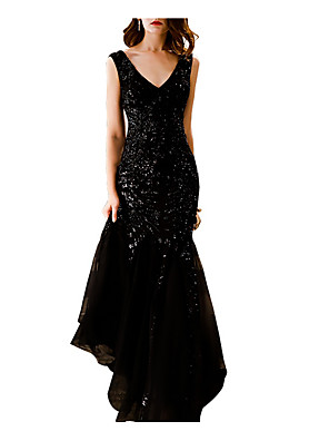 cheap Wedding Dresses-Mermaid / Trumpet Sparkle Black Engagement Formal Evening Dress V Neck Sleeveless Sweep / Brush Train Polyester with Sequin 2020