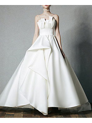 cheap Wedding Dresses-A-Line Jewel Neck Court Train Satin Spaghetti Strap Formal / Vintage Plus Size / Modern / Elegant Wedding Dresses with Draping 2020