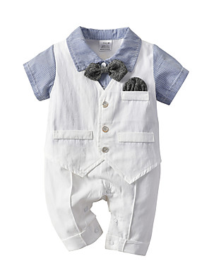 cheap Boys' Clothing Sets-Baby Boys' Basic Blue & White Striped Patchwork Short Sleeves Romper White