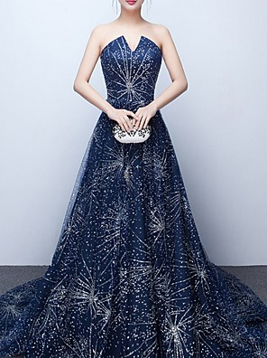 cheap Evening Dresses-Ball Gown Sparkle Blue Quinceanera Formal Evening Dress Strapless Sleeveless Court Train Polyester with Crystals Sequin 2020