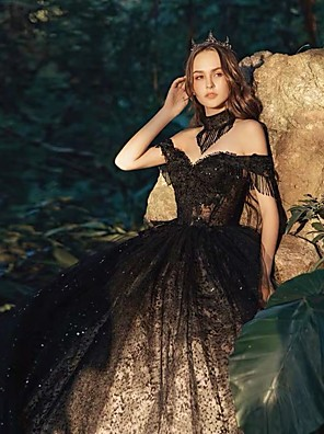 cheap Wedding Dresses-Ball Gown Wedding Dresses Off Shoulder Court Train Lace Tulle Short Sleeve Sexy Black Modern with Lace Appliques 2020