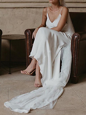 cheap Prom Dresses-A-Line Wedding Dresses V Neck Court Train Polyester Spaghetti Strap Formal Plus Size with Draping 2020