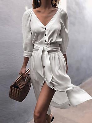 cheap Women's Dresses-Women's A-Line Dress Knee Length Dress - Long Sleeve Solid Color V Neck White Blushing Pink Beige Gray S M L XL