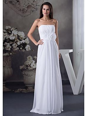 cheap Prom Dresses-A-Line Elegant Formal Evening Dress Strapless Sleeveless Floor Length Chiffon with Pleats 2020