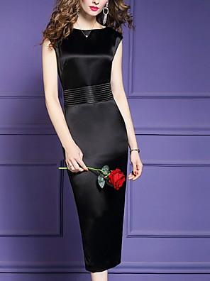 cheap Evening Dresses-Sheath / Column Mother of the Bride Dress Elegant Jewel Neck Tea Length Polyester Sleeveless with Bow(s) 2020