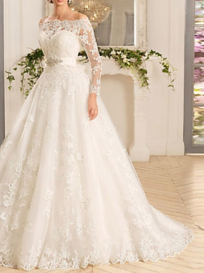 cheap Wedding Dresses-A-Line Wedding Dresses Off Shoulder Court Train Tulle Long Sleeve Romantic See-Through Backless Illusion Sleeve with Appliques 2020