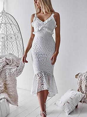 tanie Sukienki-Damskie Sukienka na ramiączkach Sukienka midi - Bez rękawów Solidne kolory Szczupła Biały S M L XL