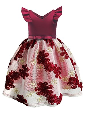 cheap Evening Dresses-Ball Gown Knee Length Pageant Flower Girl Dresses - Polyester Sleeveless Jewel Neck with Embroidery