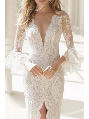 cheap Wedding Dresses-Mermaid / Trumpet Wedding Dresses V Neck Sweep / Brush Train Lace Tulle Long Sleeve Formal Boho Plus Size Illusion Sleeve with Lace Insert Appliques Split Front 2020