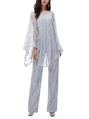 cheap Evening Dresses-Pantsuit / Jumpsuit Mother of the Bride Dress Elegant Jewel Neck Floor Length Lace Long Sleeve with Lace 2020