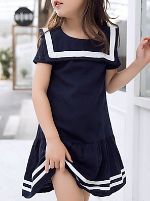 cheap Girls' Dresses-Kids Girls' Striped Dress Navy Blue