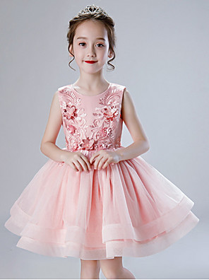 cheap Girls' Dresses-Kids Girls' Solid Colored Dress Blushing Pink
