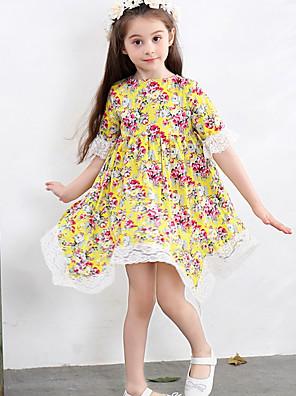cheap Girls' Dresses-Kids Girls' Floral Dress Yellow