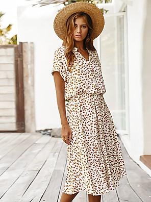 cheap For Young Women-Women's Orange Dress A Line Geometric V Neck S M