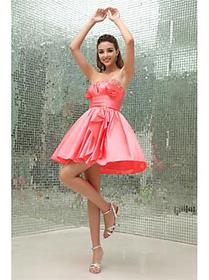cheap Cocktail Dresses-Back To School A-Line Elegant Cocktail Party Dress Strapless Sleeveless Short / Mini Taffeta with Pleats Beading 2020 Hoco Dress