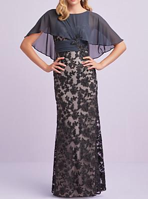 cheap Evening Dresses-Sheath / Column Mother of the Bride Dress Elegant Jewel Neck Floor Length Chiffon Lace Short Sleeve with Appliques 2020