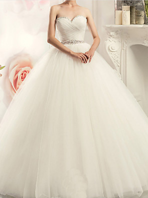 cheap Wedding Dresses-A-Line Strapless Sweep / Brush Train Tulle Strapless Formal Plus Size Wedding Dresses with Appliques 2020