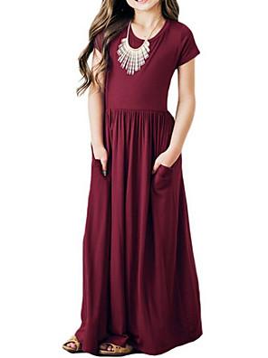 cheap Girls' Dresses-Kids Girls' Solid Colored Maxi Dress Black