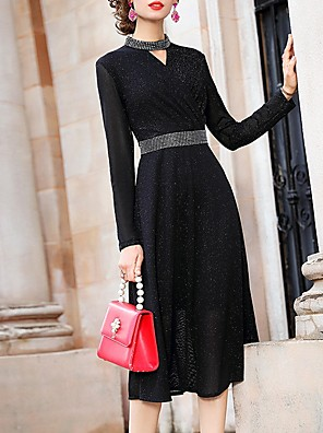 cheap Prom Dresses-A-Line Mother of the Bride Dress Elegant Jewel Neck Tea Length Polyester Long Sleeve with Sash / Ribbon 2020