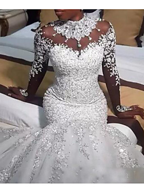 cheap Wedding Dresses-Mermaid / Trumpet Wedding Dresses Jewel Neck Sweep / Brush Train Lace Tulle Long Sleeve Casual Plus Size with Beading Appliques 2020