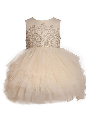 cheap Flower Girl Dresses-Ball Gown Knee Length Pageant Flower Girl Dresses - Polyester Sleeveless Jewel Neck with Pick Up Skirt / Appliques