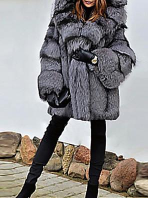 povoljno Ženske kaputi od kože i umjetne kože-Žene Party / Dnevno Osnovni Zima Normalne dužine Faux Fur Coat, Jednobojni S kapuljačom Dugih rukava Umjetno krzno Sive boje