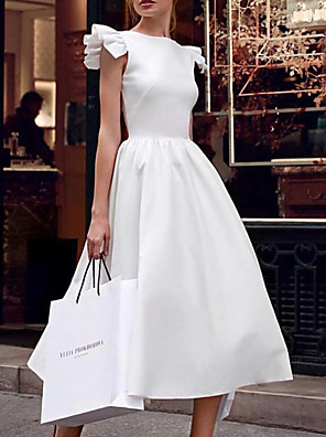 cheap Wedding Dresses-Ball Gown V Neck Ankle Length Satin Regular Straps Formal / Vintage Plus Size / 1950s / Cute Wedding Dresses with Draping 2020
