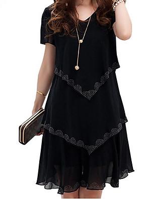 cheap Summer Dresses-Women's Swing Dress - Short Sleeve Solid Colored Spring & Summer Elegant Slim 2020 Black Blue Orange S M L XL XXL XXXL XXXXL XXXXXL