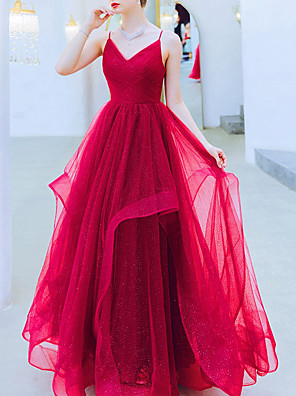 cheap Wedding Dresses-A-Line Wedding Dresses V Neck Floor Length Organza Sleeveless Romantic Plus Size Red with Ruched Ruffles 2020