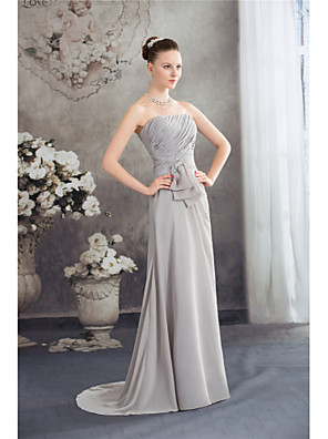 cheap Prom Dresses-A-Line Elegant Grey Wedding Guest Formal Evening Dress Strapless Sleeveless Sweep / Brush Train Chiffon with Ruched Beading 2020