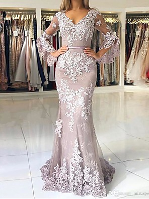 cheap Evening Dresses-Mermaid / Trumpet Sexy Pink Engagement Formal Evening Dress V Neck Long Sleeve Sweep / Brush Train Lace with Lace Insert Appliques 2020