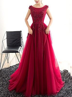 cheap Plus Size Dresses-A-Line Elegant Engagement Formal Evening Dress Jewel Neck Sleeveless Sweep / Brush Train Polyester with Appliques 2020