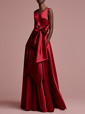 cheap Prom Dresses-A-Line Wedding Dresses V Neck Floor Length Satin Regular Straps Romantic Plus Size Red with Bow(s) 2020