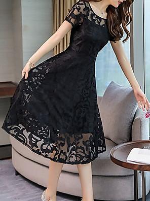 cheap Romantic Lace Dresses-Women's Swing Dress Short Mini Dress - Short Sleeve Solid Colored Elegant Slim Black Blue Red M L XL XXL XXXL