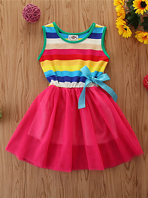 cheap Girls' Dresses-Toddler Girls' Basic Rainbow Sleeveless Dress Rainbow