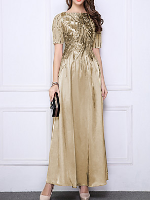 cheap Evening Dresses-A-Line Mother of the Bride Dress Elegant Jewel Neck Floor Length Polyester Half Sleeve with Sequin Appliques 2020