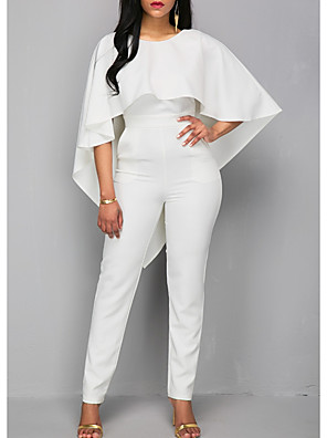 cheap Wedding Dresses-Jumpsuits Wedding Dresses Jewel Neck Ankle Length Polyester 3/4 Length Sleeve Romantic Plus Size Modern with Ruffles 2020