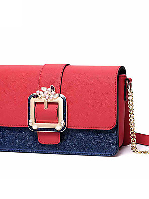 cheap Mother of the Bride Dresses-Women's Buttons PU Crossbody Bag Color Block Blushing Pink / Blue / Red