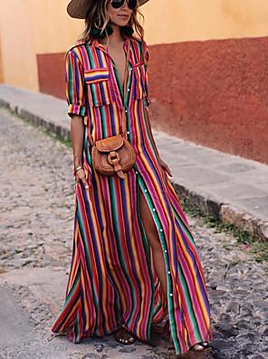 cheap Prom Dresses-Women's Shift Dress Maxi long Dress - Long Sleeve Geometric Shirt Collar Elegant Slim Black Blue Purple Orange S M L XL XXL XXXL