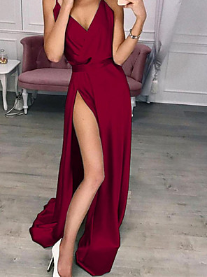cheap Women's Dresses-Women's Maxi Swing Dress - Sleeveless Solid Colored Strap Elegant Slim Wine Blue Purple Red Green Silver Beige S M L XL XXL XXXL