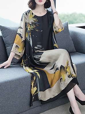 cheap Print Dresses-Women's Maxi Shift Dress - Long Sleeve Geometric Slim Black M L XL XXL XXXL XXXXL