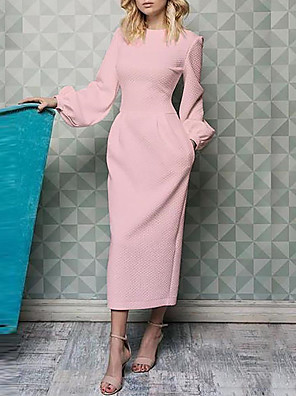 cheap Mother of the Bride Dresses-Sheath / Column Mother of the Bride Dress Elegant Jewel Neck Ankle Length Polyester Long Sleeve with Ruching 2020