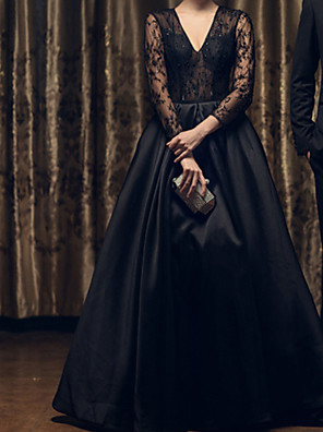 cheap Evening Dresses-A-Line Wedding Dresses V Neck Floor Length Lace 3/4 Length Sleeve Formal Black Modern Illusion Sleeve with Draping Lace Insert 2020